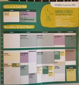 horaires des ateliers